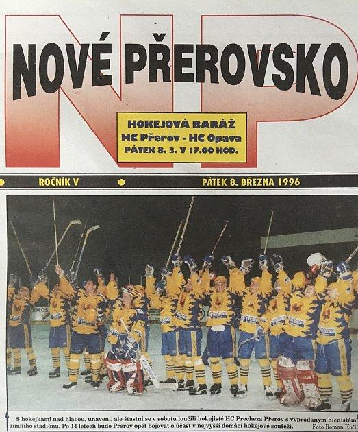 Titulní strana Nového Přerovska po postupu do baráže oextraligu.