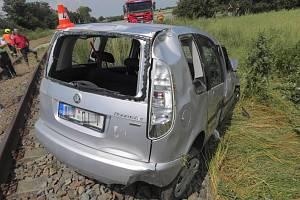 Nehoda roomsteru v Uhřičicích na Kojetínsku.