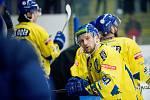 Hokejisté Přerova (ve žlutém) sestřelili Kadaň 8:2. Mikuláš Zbořil. Foto: Deník/Jan Pořízek
