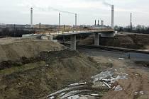 Modernizace železničního koridoru v Přerově.  Nadjezd u chemičky. Leden 2021