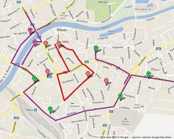 Na mapce jsou vyznačeny změny vpřerovského MHD vden pochodu stoupenců DSSS
