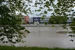 Řeka Bečva v Přerově ve čtvrtek 23.5.2019 ráno