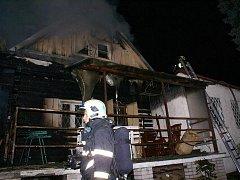 Požár chaty v Pěnčicích
