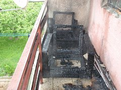 Požár balkonu v Prosenicích