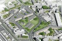 Vizualizace úpravy okolí průpichu, která zaujala v urbanistické soutěži v roce 2017.