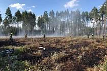 Požár lesa u Veselíčka na Přerovsku, 8. 7. 2019