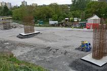Stavba mimoúrovňového křížení v Předmostí , polovina května 2019