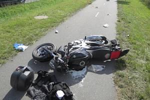 Nehoda motorkáře v Radslavicích
