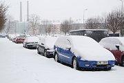Zasněžené úterý 8. ledna 2019 v ulicích Přerova