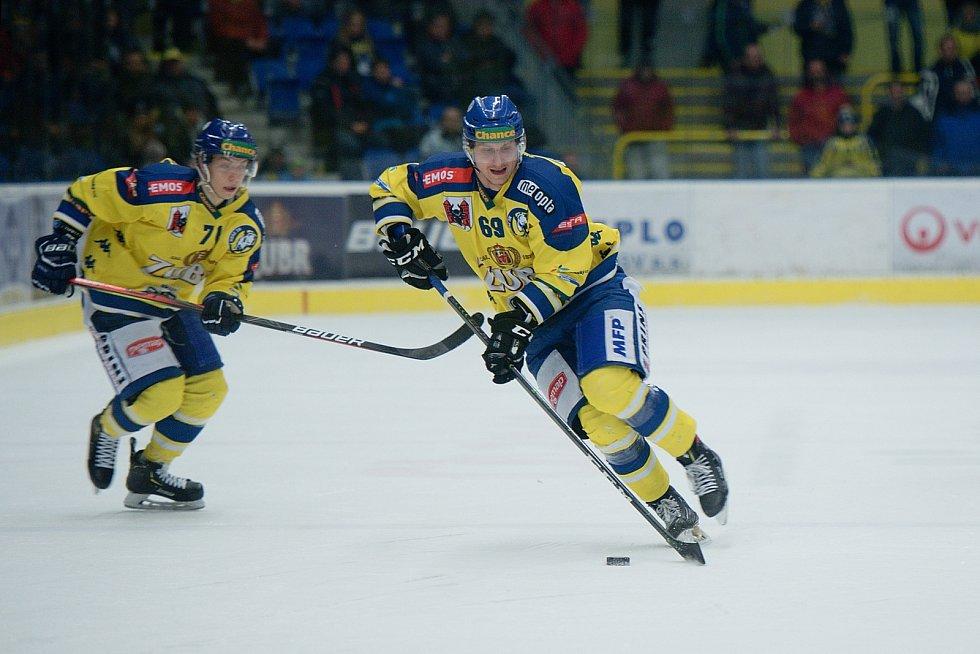 Hokejisté Přerova (ve žlutém) doma porazili Litoměřice 3:1. Lukáš Forman