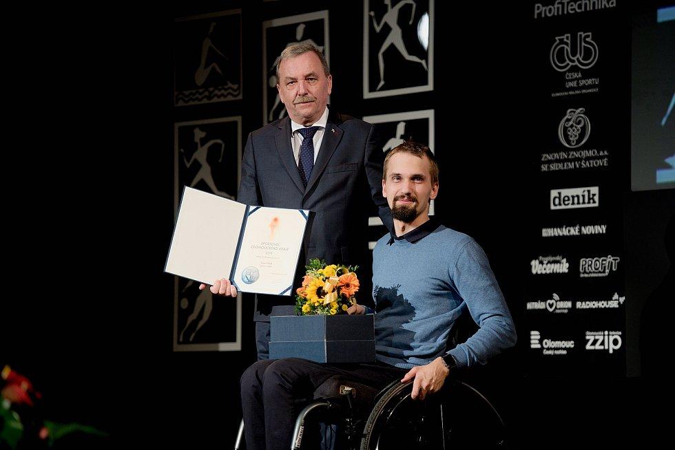 Vyhlášení Sportovce Olomouckého kraje za rok 2019 v Městském domě v Přerově. Tomáš Pešek, nejlepší handicapovaný sportovec