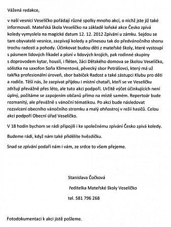 Dopis od ředitelky Mateřské školy ve Veselíčku