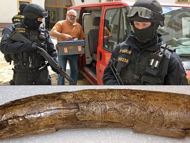 Za přísných bezpečnostních podmínek, pod dohledem silně vyzbrojené Policie ČR, dovezli do přerovského muzea vzácné prehistorické artefakty. Unikátní předměty pochází z vykopávek na Předmostí v Přerově a obohatí připravovanou výstavu Umění z času lovců. Do