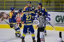 Hokejisté Přerova (v modrém) proti Třebíči. Ilustrační foto