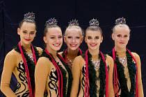 Moderní gymnastky TJ Spartak Přerov. Juniorky (zleva Denisa Karasová, Kateřina Vařáková, Markéta Lukšová, Emma Poláková, Stela Dočekalová).