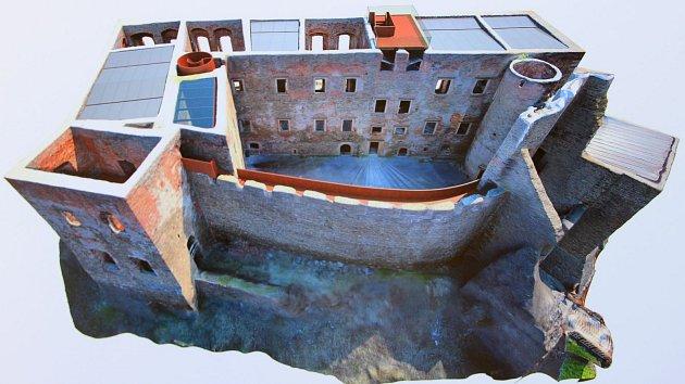 Vizualizace zastřešení paláce na Helfštýně