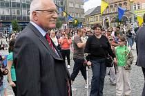 Prezident Klaus s chotí na návštěvě Přerova