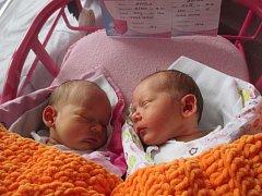 Julie a Emilie Nevrlé, Hranice, narozeny dne 10. července ve Valašském Meziříčí, Julie míra 48 cm, váha 2750 g, Emilie míra 47 cm, váha 2400 g