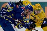 Hokejisté Přerova (v modrém) proti VHK Robe Vsetín. Ilustrační foto