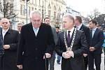 Prezident Zeman v ulicích Přerova