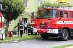 Požár v ulici Interbrigadistů v Přerově. 13.8.2019