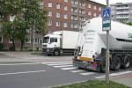 Problémový přechod pro chodce v blízkosti ubytovny Chemik v ulici Velké Novosady v Přerově