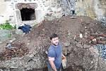 Archeologický výzkum na severní terase paláce na Helfštýně