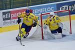 Hokejisté Přerova (ve žlutém) v generálce proti Frýdku-Místku