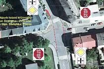 Navrhované řešení dopravní situace na křižovatce - Denisova - Ztracená - Gen. Štefánika v Přerově