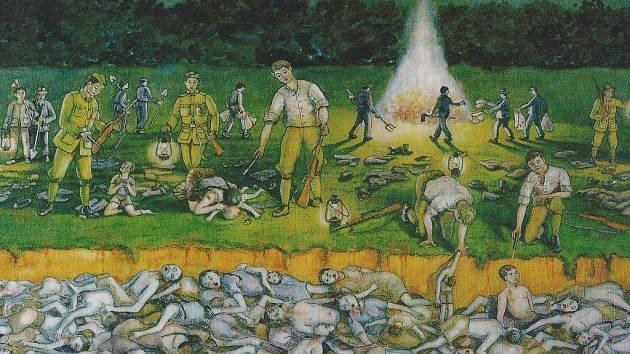 Hrůzný obraz běsnění na Švédských šancích namaloval v padesátých letech minulého století jistý Hans Weiss, který pocházel z Mlýnice – a mezi oběťmi masakru měl své příbuzné.