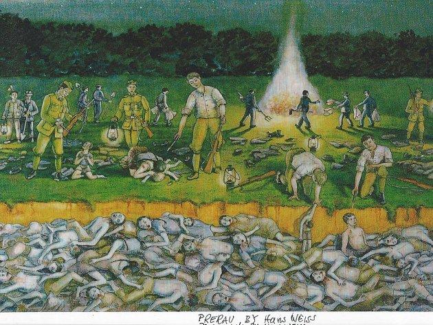 Hrůzný obraz běsnění na Švédských šancích namaloval vpadesátých letech minulého století jistý Hans Weiss, který pocházel zMlýnice – a mezi oběťmi masakru měl své příbuzné.