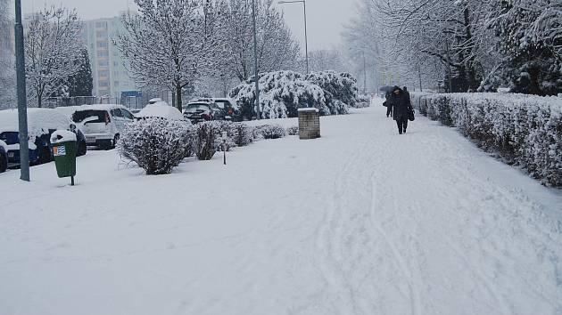 Zasněžený Přerov 28. ledna 2019
