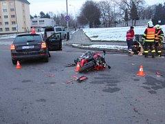 Nehoda rapidu a motorky v Přerově