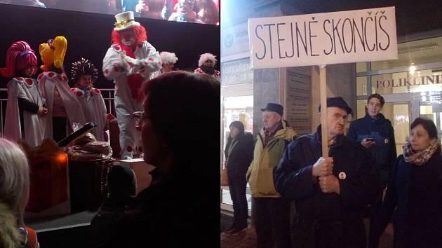 Na náměstí Přerovského povstání v Přerově se 16. prosince 2019 sešly dvě rozdílné akce - vánoční program pro děti, na kterém vystoupili i politici z hnutí ANO, a protest Milionu chvilek pro demokracii.