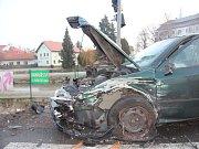 Srážka tří aut v Hustopečích nad Bečvou