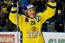 Hokejisté Přerova (ve žlutém) proti Frýdku-Místku. Jan Berger.