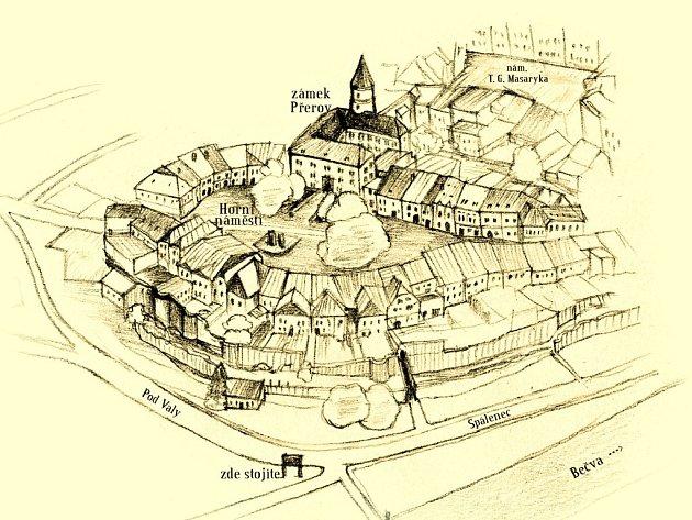 Nákres historické části Přerova
