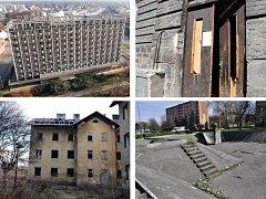 Zanedbaná místa v Přerově - Strojař, Husova ulice, Škodova ulice, kašna u Hané