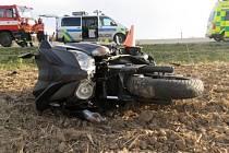 Nehoda motocyklistky mezi Přerovem a Rokytnicí