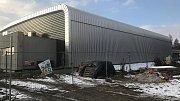 Stavba sportovní haly v Lipníku nad Bečvou na začátku března 2018