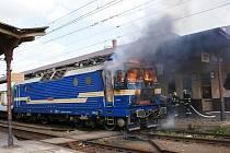 Požár lokomotivy na přerovském nádraží