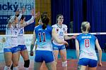 Volejbalistky Přerova (v bílém) proti Frýdku-Místku