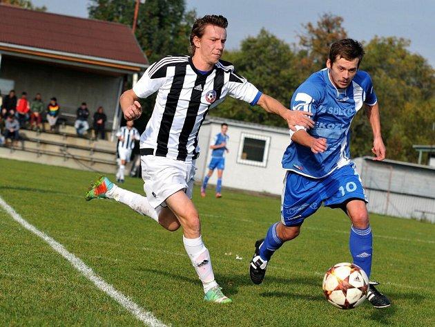 Fotbalisté Želatovic (v černo-bílé) proti Zábřehu