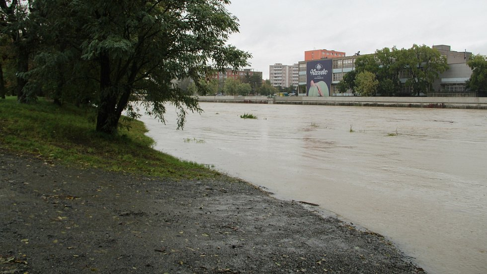 Bečva v Přerově, 14. října 2020 po poledni