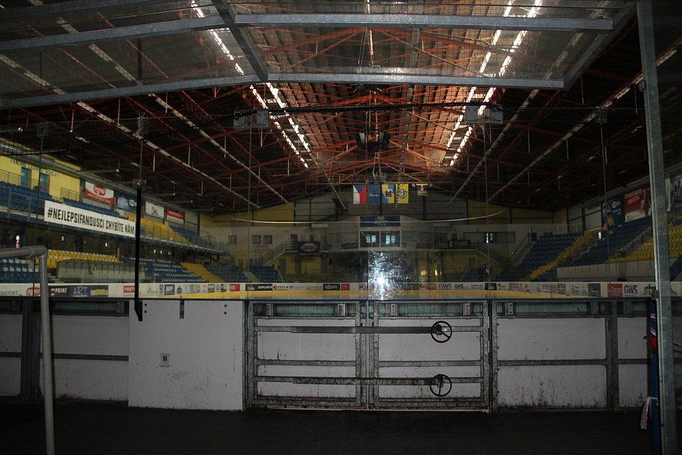 Zázemí přerovského zimního stadionu v únoru 2021