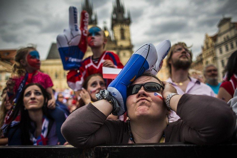 MS v hokeji 2015 v Praze. Staroměstské náměstí během semifinále Česko - Kanada