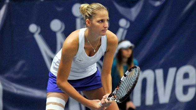 Karolína Plíšková si v Přerově zahrála nejen extraligu (na snímku z roku 2014), ale jako devatenáctiletá bojovala i ve finále Zubr Cupu 2011