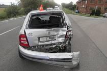 Při střetu aut na silnici u Žeravic, ke kterému došlo v pondělí odpoledne, se zranila spolucestující z jednoho z vozidel.