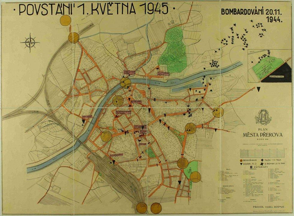 Plán Přerova se zachycením míst bojů během Přerovského povstání