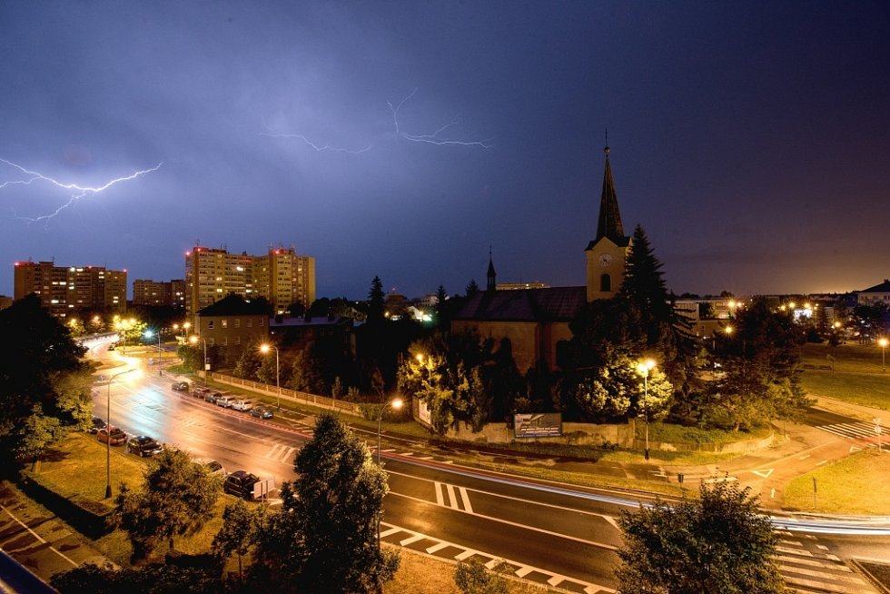 Bouřka v Přerově ve čtvrtek 24. června 2021.